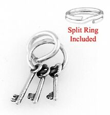 "STERLING SILVER ""RING OF 3 KEYS"" CHARM  W/ SPLIT RING"