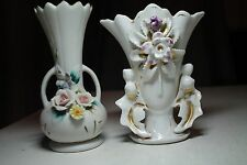 LOT 2 old flower vases. white gold pink purple yellow green bisque porcelain