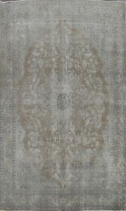 Antique Muted Distressed Tebriz Evenly Low Pile Area Rug Hand-made Wool 10x13