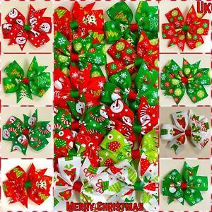 """Christmas Hair Bows/Clips/Slides Xmas Hair Accessories 3"""" Santa, Trees, Snowman"""