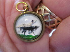 intaglio pendant Reverse carved and painted Bird Dogs or Pointers Vintage glass
