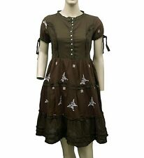 4180 New Odd Molly Quirky Dusty Brown Embroidery Lace Cotton Dress XS 0