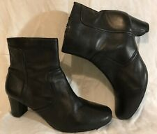 Footglove Wider Fit Black Ankle Leather Lovely Boots Size 4.5 (914vv)