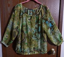 """VIEW by WALTER 48"""" Bust Women's Green Floral Sheer Peasant Blouse"""