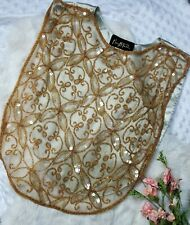 Vintage Mary mcfadden Embroidered Dickie Bib Necklace Top Gold Designer Beaded