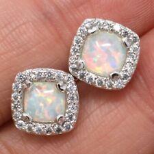 2 Ct White Fire Australian Opal Earrings Women Wedding Gift 14K White Gold Plate