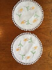 Vintage Hand Embroidered Cotton Duchess Doilies DressIng dining Table Crochet
