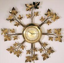 MID-CENTURY UNITED STARBURST LEAF WALL CLOCK VINTAGE 1950s