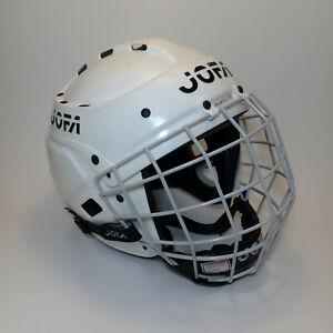 Vintage Jofa Hockey Helmet 395JR 6 1/2 - 7 1/4 White w/ Cage Made In Sweden