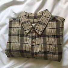Rodarte x Opening Ceremony mens plaid / check cotton linen shirt small