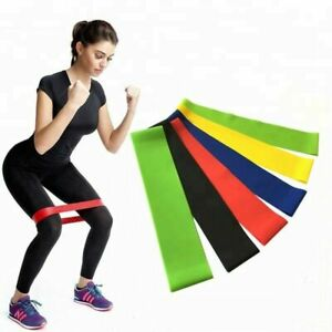 Resistance Loop Bands Mini Natural Latex Exercise Yoga 5 Piece Set Home Fitness