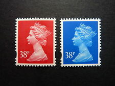 GB 38p rosine and ultramarine Machin stamps S.G. Y1706 & Y1707 unmounted (MNH)