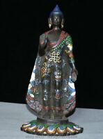 """14.8 """"Vieux Tibet Bronze Peint 8 Statue De Bouddha Robe Symbole Auspicieux"""