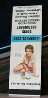 Rare Vintage Matchbook Cover O3 Pin Up Girl Liverpool Pennsylvania Doris Texaco