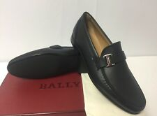 New In Box Bally 'Colbar' Navy Textured Leather Logo Loafers Sz. 8EU/9US $590.00