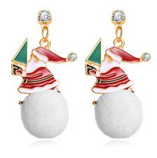 Rhinestone Santa Claus Christmas Tree Snowball Dangle Earrings Christmas Gifts