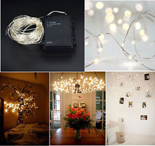 Timer LED Silver Wire Outdoor Fairy String Lights 10M 100 led 3AA Battery Power