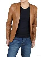 Mens Genuine Lambskin Real Leather Blazer ONE BUTTON Coat Jacket Soft Stylish
