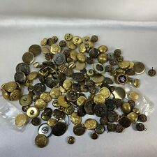 Vintage Button Lot Embossed Brass And Gold Colored Uniform Buttons