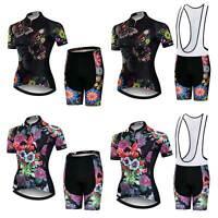 Women's Cycle Clothes Set Reflective Cycling Jersey and Padded (Bib) Shorts Kit
