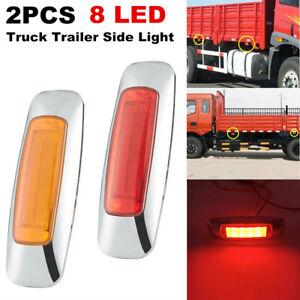 2PCS Universal Truck Trailer Side 8LED Signal Lamp Indicator Brake Light Lamp