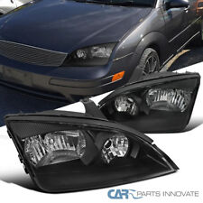 2005-2007 Ford Focus ZX4 ST Replacement Black Clear Headlights Head Lamps Pair