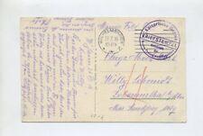 1916 Marine dt. Feldpost 1.WK Festungslandflugstation auf Farb AK Torpedoboot