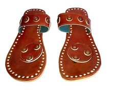 Brown leather slippers mens sandals casual flip flops indian style slippers flat