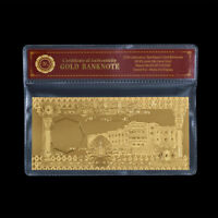 WR Saudi Arabia 100 Riyal 24KT Gold Banknote Asia Paper Money Collection +COA