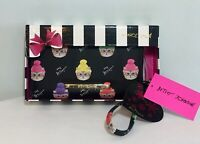 BETSEY JOHNSON Zip Around Wallet Wristlet Black Kitty Cat~Hats Clutch NEW IN BOX