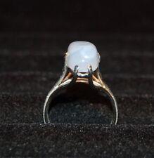 One White Gold Blue Agate Pendent Earrings Ring Set