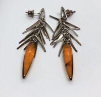 Vintage Sterling Silver Earrings 925 Dangle Bead Baltic Amber Cha Cha