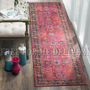 TALISH CHOBI PINK VINTAGE PERSIAN LOOK RUG RUNNER 80x400cm **FREE DELIVERY**