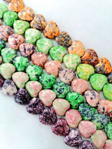 6 Strands 20x20x8mm Multicolor Mixed Rain Stone Love Heart Spacer Loose Beads BB
