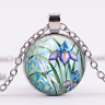 Dragonfly and Iris lover Cabochon Tibetan silver Glass Chain Pendant Necklace