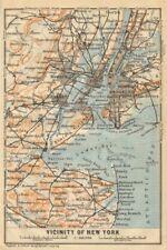 New york city metro area. brooklyn newark jersey city. baedeker 1904 old map