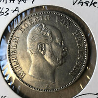 1863-A German Prussia Thaler Taler Silver Coin UNC Condition