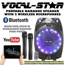 Vocal-Star Portable Black Karaoke Machine Speaker 2 Wireless Mics & Bluetooth