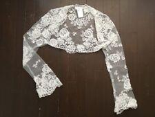 Pronovias Barcelona Lace Wedding Jacket Bolero, off white, size 8, Never Worn
