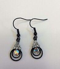Women Drop Dangle Fashion Black Rhinestones Enamel Hook Earrings