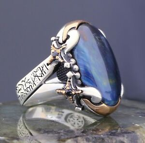 Solid 925 Sterling Silver Blue Tiger's Eye Stone Tawheed on Sword Men's Ring