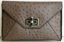 NEW Authentic DVF Diane von Furstenberg Ostrich Embossed Clutch Brown Mushroom