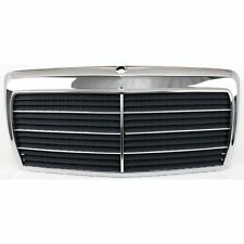 Grille For 86-93 Mercedes Benz 300E 90-93 300D Chrome Shell w/ Gray Insert