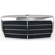 Grille For 86-93 Mercedes Benz 300E 90-93 300D Chrome Shell w/ Gray Insert