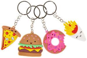 12 x Fastfood Burger Pommes Schlüsselanhänger, Mitgebsel Kindergeburtstag