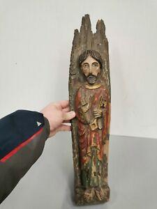 Ancienne Sculpture polychrome sur Bois , Statue de Saint Pierre . Chapelle Culte