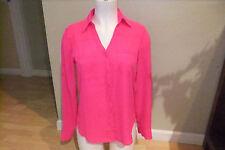 Express Portofino Shirt Hot Pink L/S Button Blouse- Wms sz XS