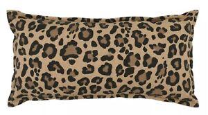 """Oversize Leopard Printed Linen Lumbar Throw Pillow Neutral - Threshold 12"""" x 24"""""""