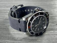 20mm DARK GRAY Crazy Horse Leather Watch Strap BLACK stitch - Quick release