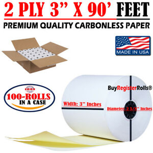 """3"""" 2 PLY X 90' FT 100 Carbonless White/Canary Paper Rolls, SAME DAY SHIPPING"""